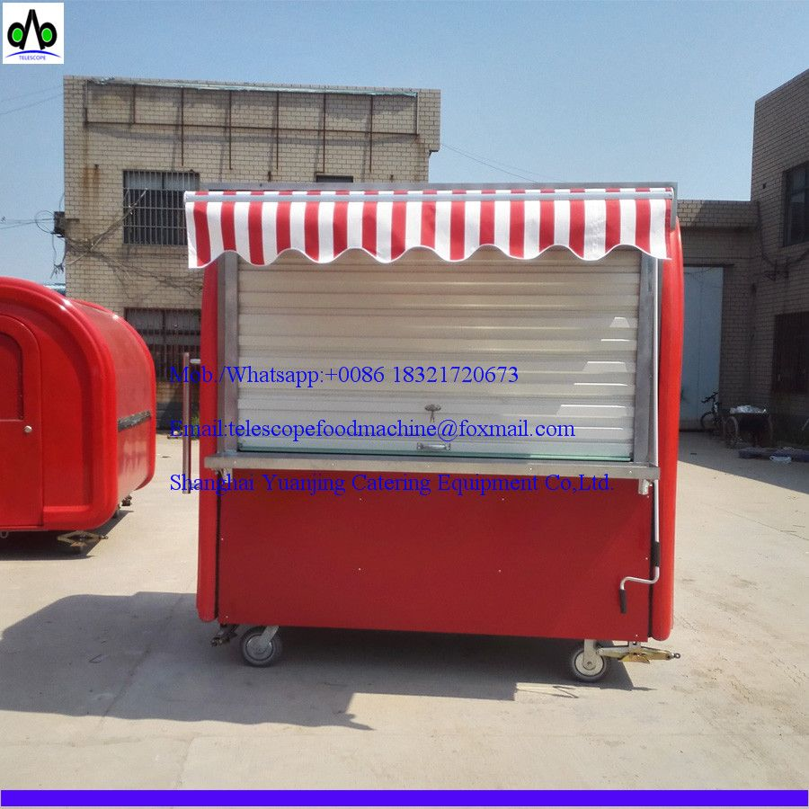 Red Color Mobile Ice Cream Food Cart With Awning And Roller Shutter Door Fyer Bbq Hot Dog Hamburger Crepe Ice Cream Etc Can Be Customized Idei