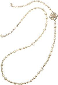 """Chanel Baroque Glass Pearl CC Necklace Pristine Condition 1.5"""" Width x 46"""" Length"""