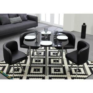 cosmic ensemble table manger 4 personnes 100x100 cm 4 chaises laqu noir