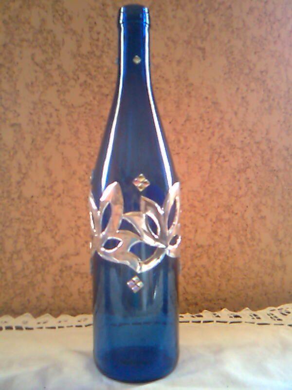 Botella de vino decorada con aluminio y piedras - Botellas de vino decoradas ...