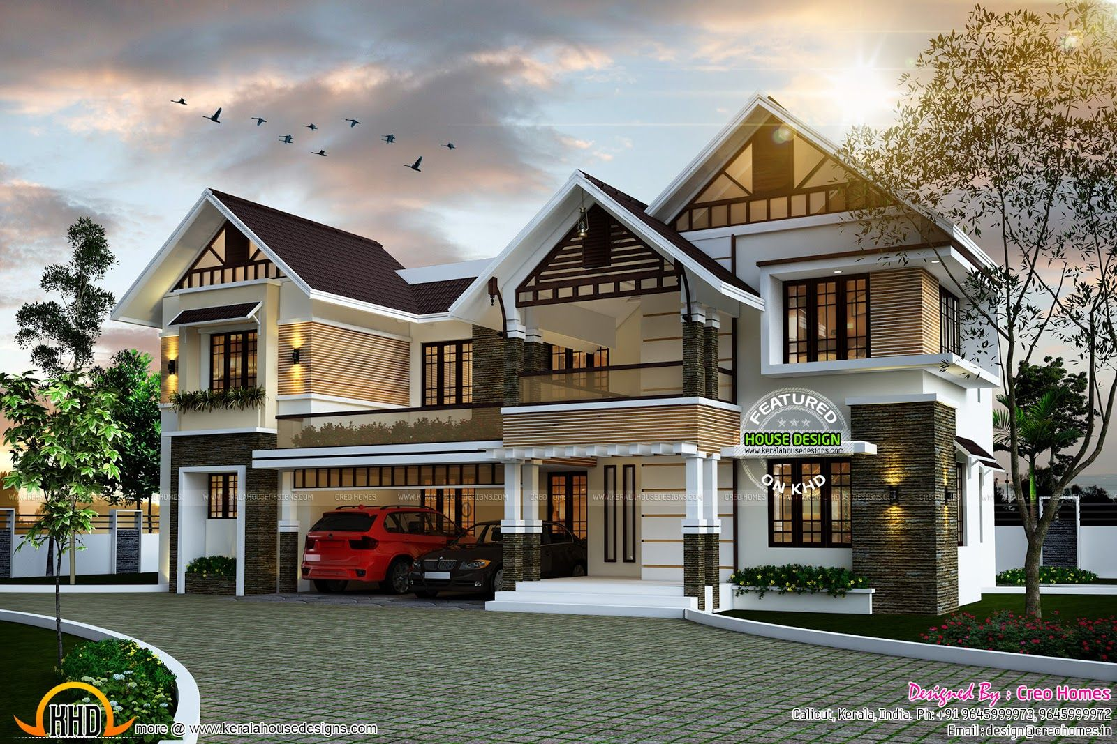 Sloping roof cute home plan kerala design and floor plans for Latest house designs 2015