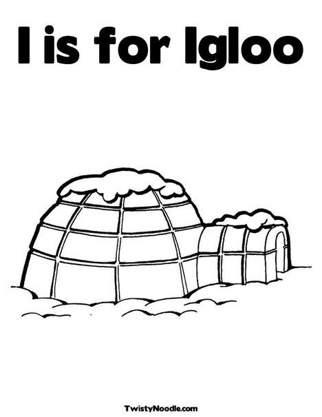 Igloo Coloring Page from TwistyNoodle.com   Ii - Ll   Pinterest ...