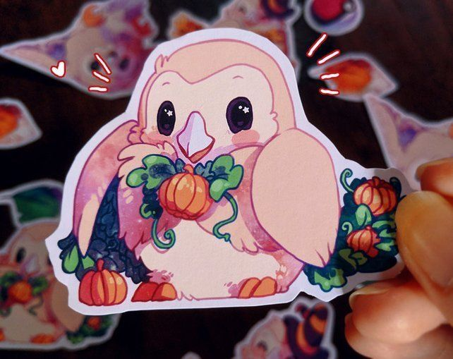 Fall Rowlet Stickers made by Teloka Berry -