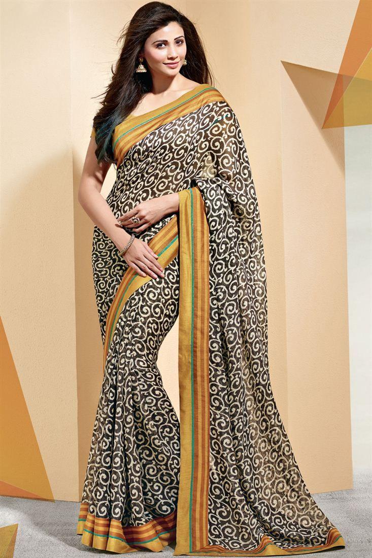 89a282bc6b9 Daisy Shah Printed Party Wear Linen Saree