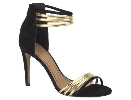Kazar Czarno Zlote Polsandaly Heels Shoes Glam