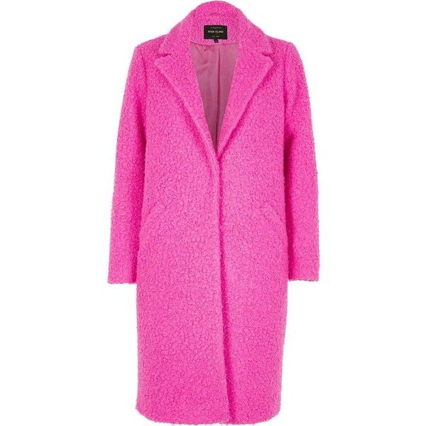 River Island Bright pink textured coat ( 170) ❤ liked on Polyvore featuring  outerwear c702c4ce0