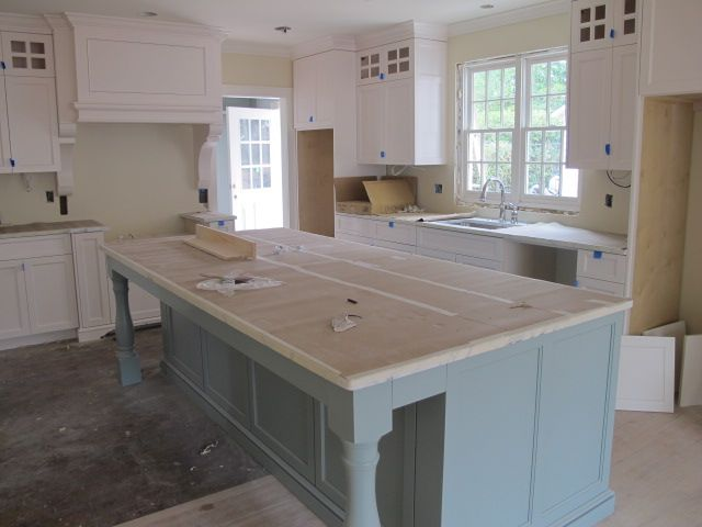 Cabinets And Trim Creamy Sherwin Williams Walls Are Elephant Tusk OC 8 Benjamin Moore The Island Stratton Blue HC 142