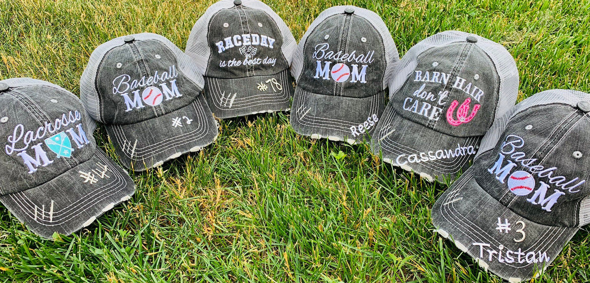 Soccer Mom Hat Softball Mom Hat Volleyball Mom Hat- Custom hat with 6 sport buttons you switch out as you need them! Basketball Mom Hat
