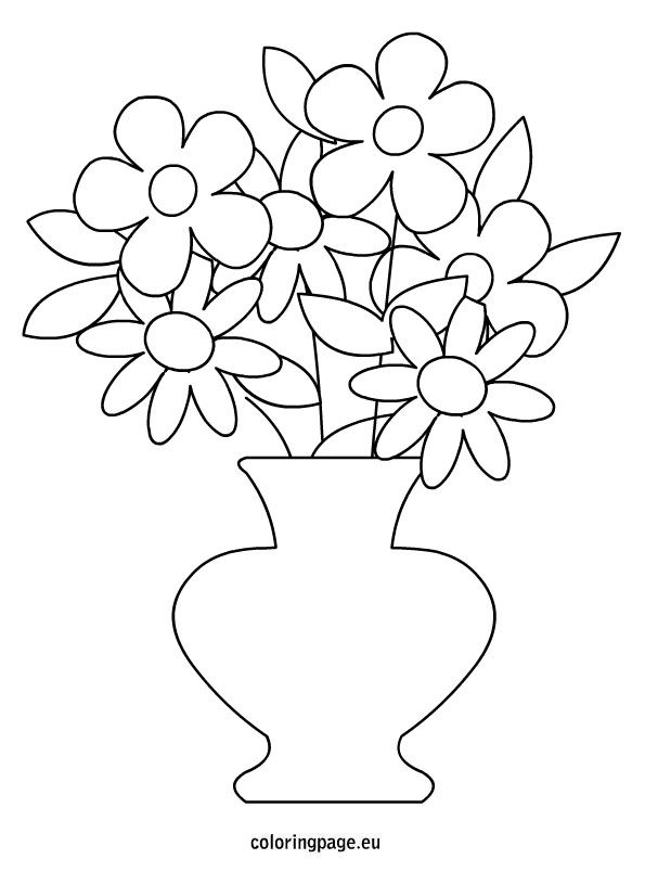 Flowers Pot Coloring Page Flower Templates Printable Free Printable Flower Coloring Pages Flower Templates Printable