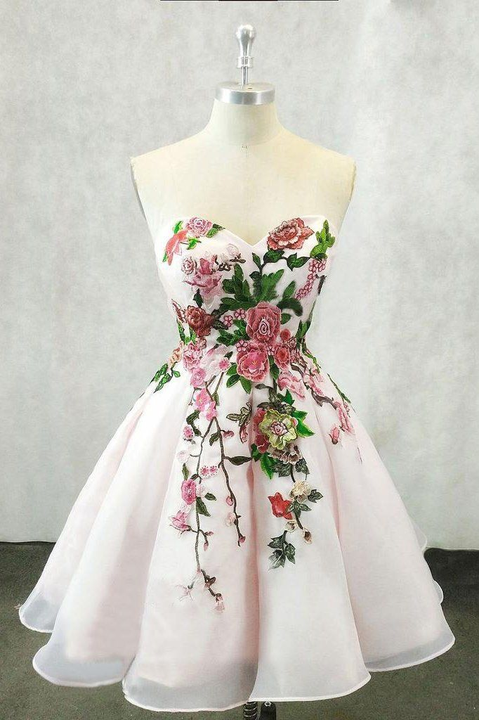 A Line Straps Sweetheart Pink Homecoming Dresses with Floral Print Short Prom Dress PW826