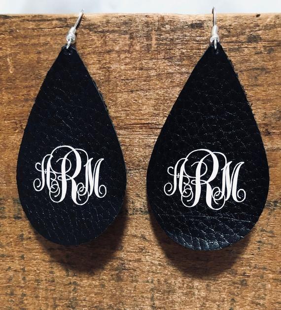 Leather Monogram Black Earrings Teardrops Etsy In 2020 Monogrammed Earrings Vinyl Diy Leather Earrings Monogram Earrings