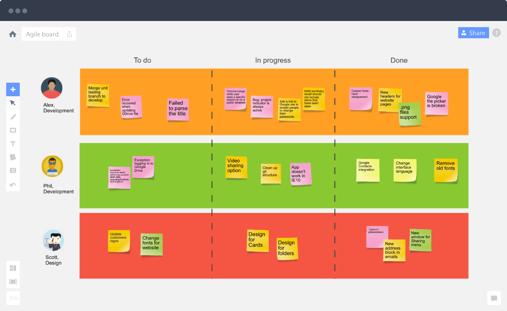 Use agile board online to collaborate with your team, manage the ...