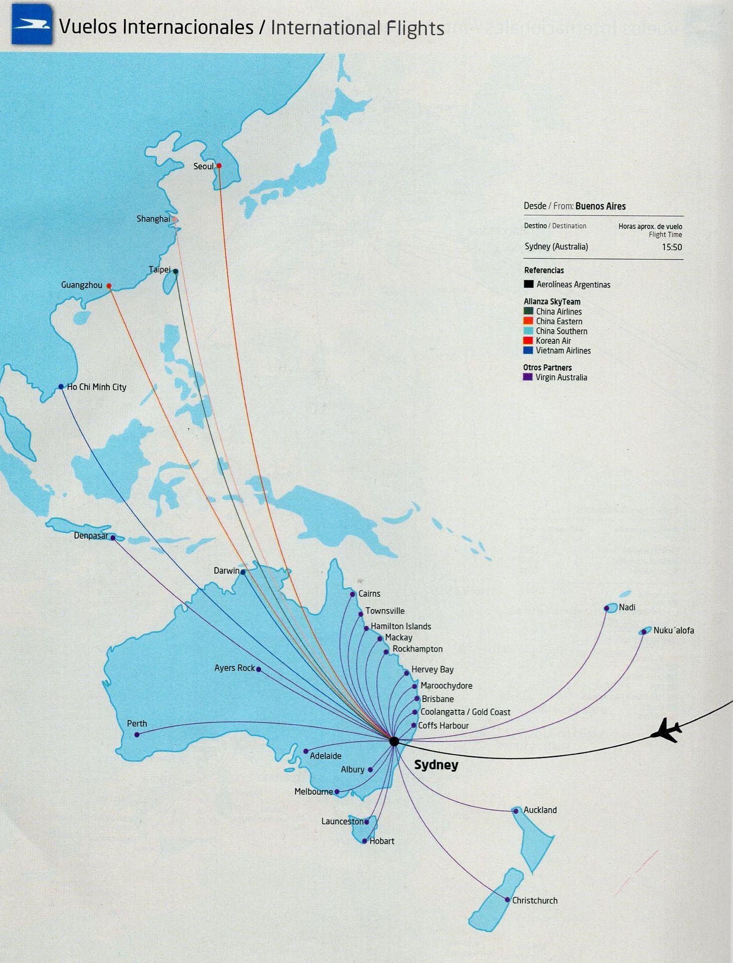 aerolineas argentinas route map Aerolineas Argentinas 2013 Asia Pacific Routemap Route Map aerolineas argentinas route map