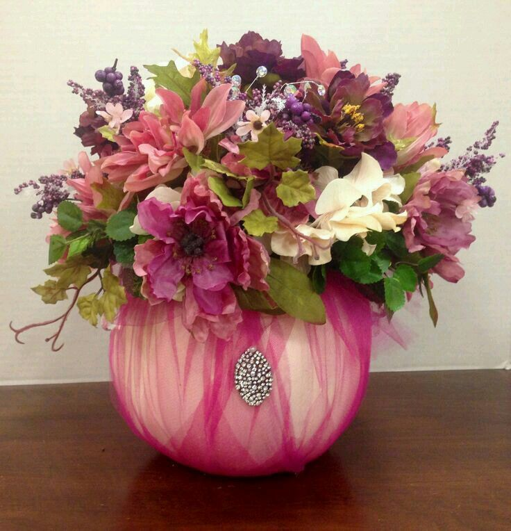 pumpkins pink cancer breast pumpkin awareness vase baby halloween flowers tulle shower arrangements flower centerpieces fall month cinderella party covered