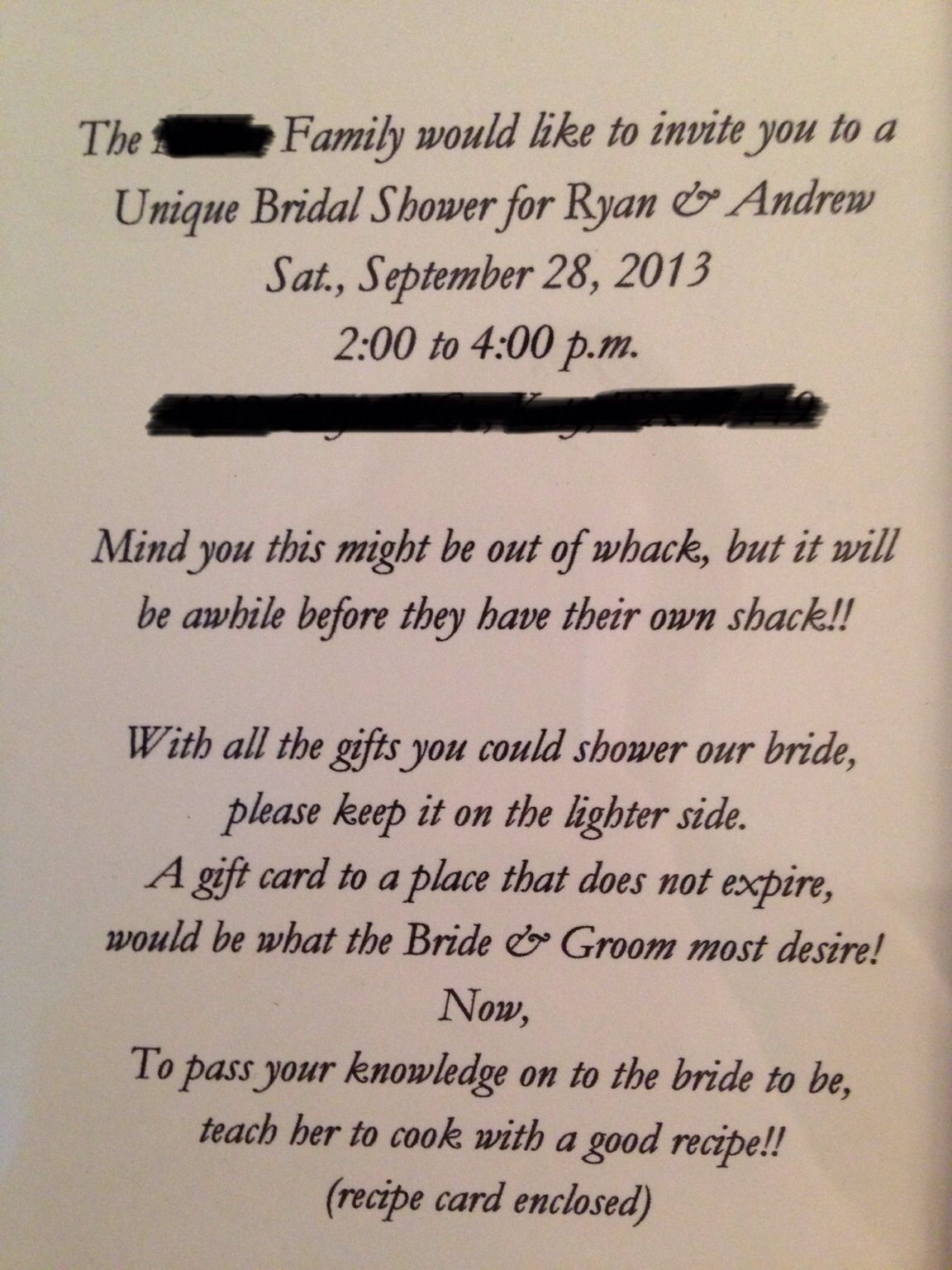 bridal shower invite for a gift card shower written by myself ryan mclane