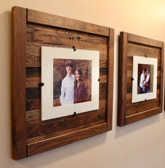 Rustic Wood Picture Frame 8 X 10 With Mat 11 X 14 Picture Frame Without Mat Set Of 2 Reclaimed Wood Picture Frames Rustic Frames Picture On Wood