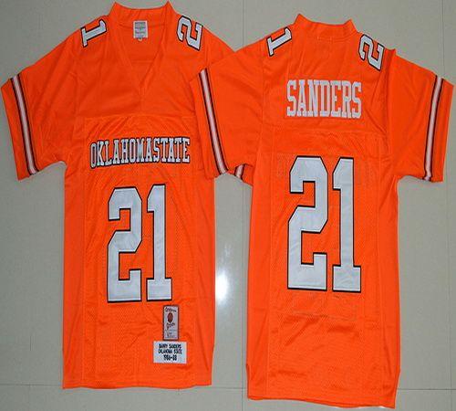 Oklahoma State Cowboys Barry Sanders 21 College Football Jersey - Orange