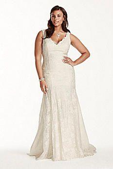 Lace Jewel Scalloped Mermaid Plus Size Wedding Dress Style Ivory