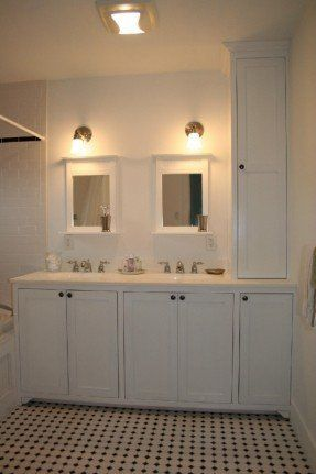 custom master double vanity with linen tower (with images