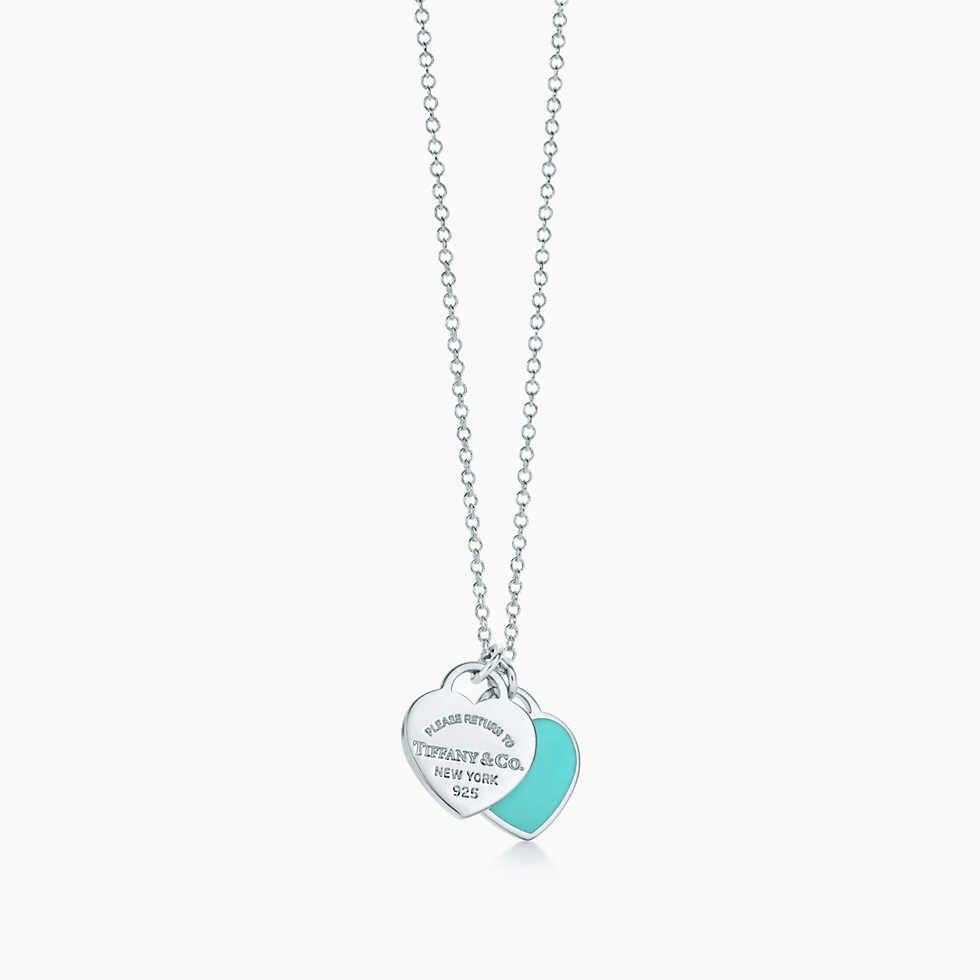 Pendentif Double Plaque Cœur Mini En Argent 925 Milliemes Et Finition Email Tiffany And Co Necklace Diamond Cross Pendants Diamond Cross Necklaces