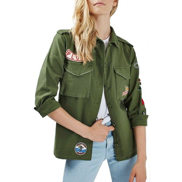 Women's Topshop 'Sandy' Badge Shirt Jacket (110 CAD) ❤ liked on Polyvore featuring outerwear, jackets, olive, topshop jacket, military jacket, green military style jacket, shirt jacket and cotton shirt jacket