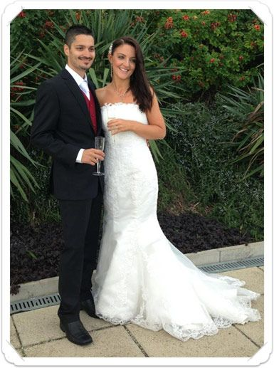 Doesn't Zoe look stunning in our Countess Carmel bridal gown.