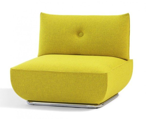 Comfy Yellow Sofa Design Made From Fabric And Softy Foam Material In Small Shaped Style For Modern Living R Yellow Sofa Design Sofa Styling Fabric Lounge Chair