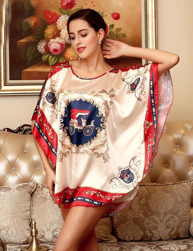 7c4211d4d2cf 2016 Summer Silk Sexy Nightgowns Women Elegant Sleepshirts Printed Plus  Size Lounge Butterfly Sleeves Coffee Female Nightdress