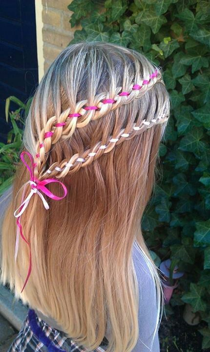 lace 4st braid with ribbon
