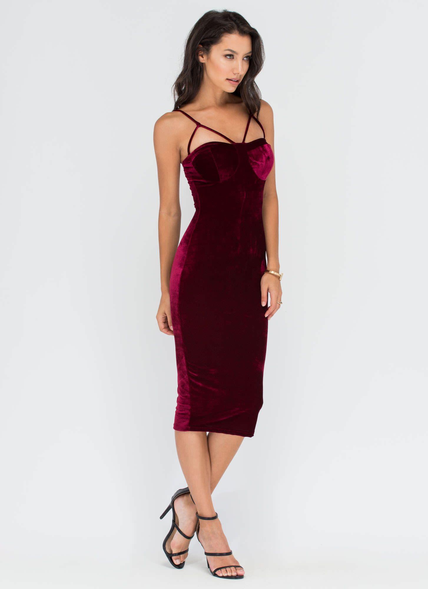 efb94de121ce Blow Me Away Velvet Bustier Midi Dress HUNTERGREEN WINE BLACK - GoJane.com