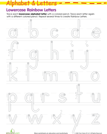 Rainbow Letters Practice Writing Lowercase Letters