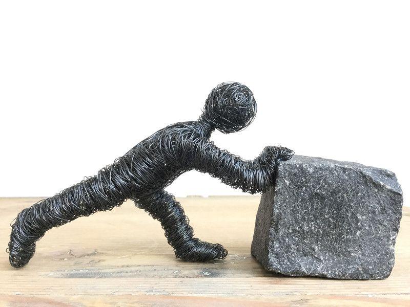 Skulpturen - schiebende Drahtfigur - ein Designerstück von Voll-auf-Draht bei DaWanda