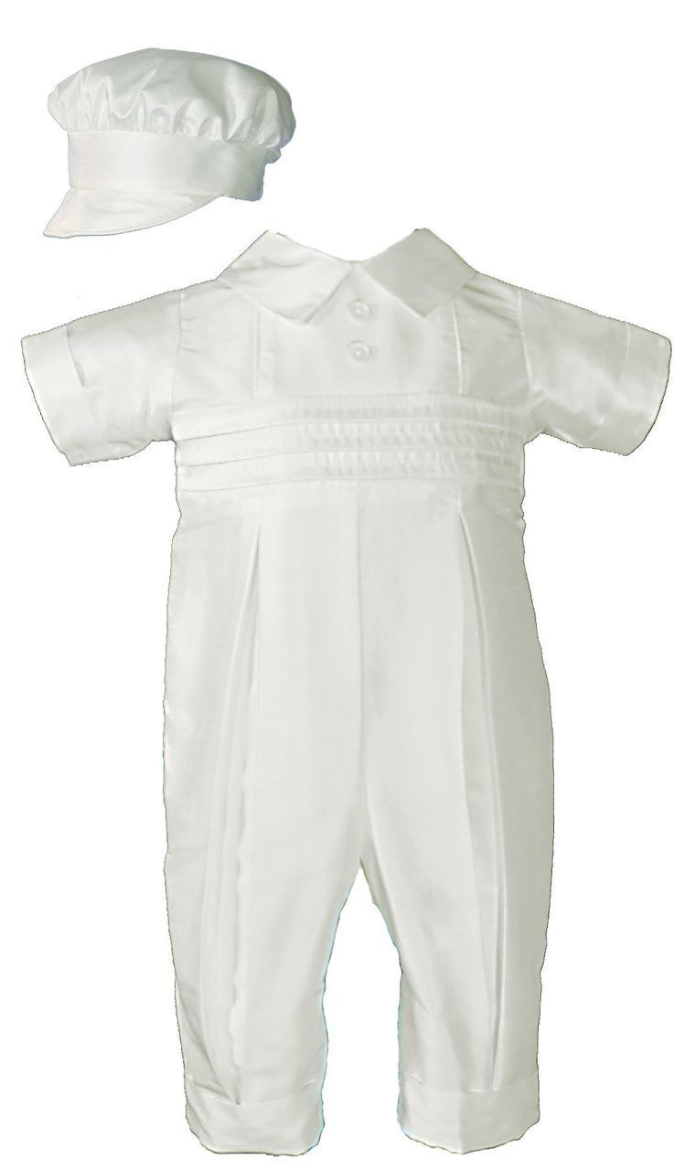 461786f13 Classic silk dupioni (slightly off white) coverall with pin tucking and  pleated legs. Includes matching bonnet style hat.