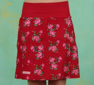 Rock, Rose, rouge skirt red rose print rood rozen print rok