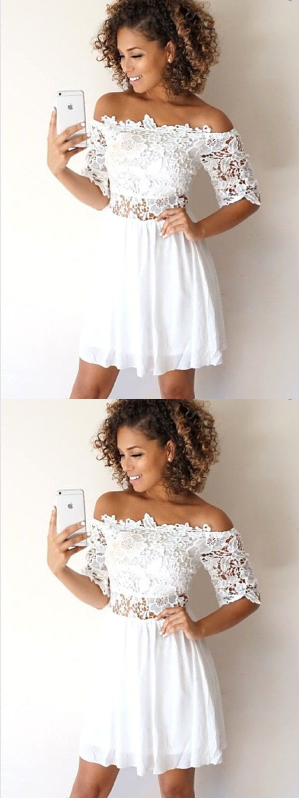 Aline offtheshoulder half sleeves white lace short homecoming