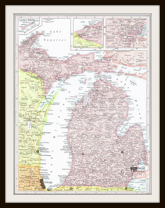 Vintage Map MICHIGAN MASSACHUSETTS Map Page Buy Maps Get - Buy vintage maps