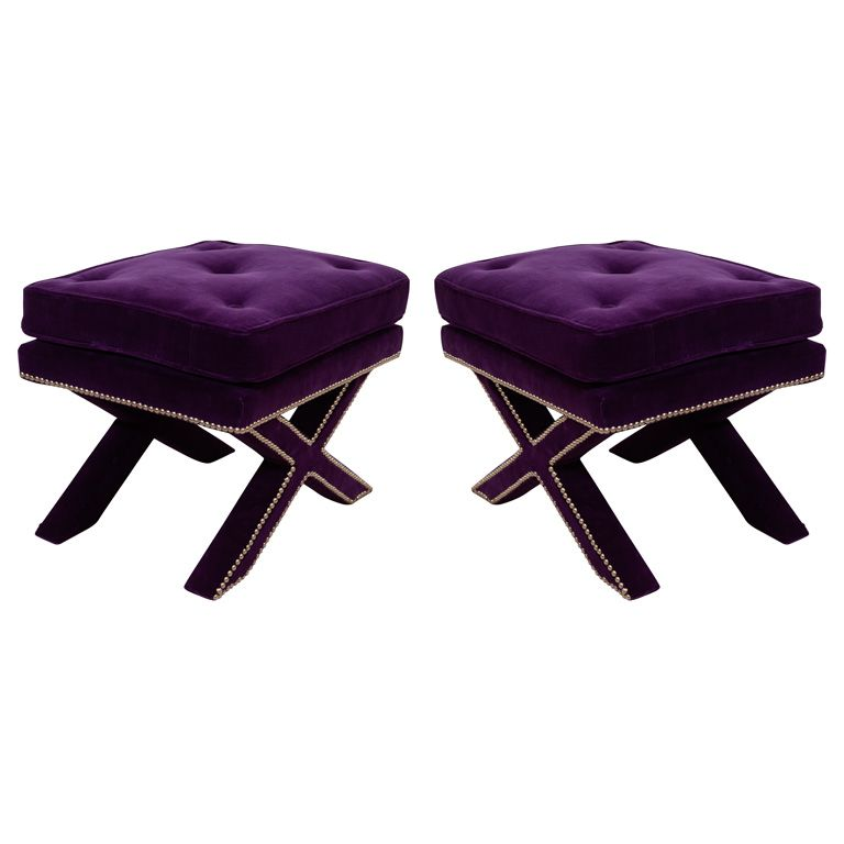 Pair Of Mid Century X Base Stools With Purple Velvet Upholstery