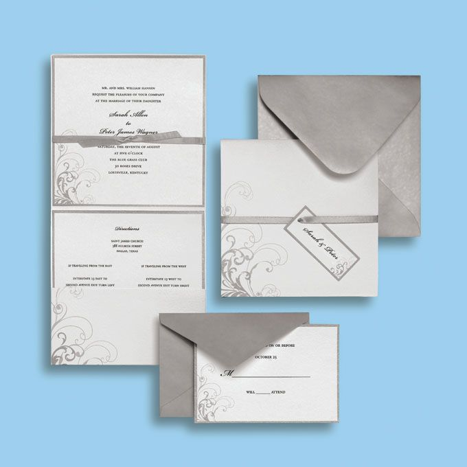 Silver And White Wedding Invitation By Brides Collection