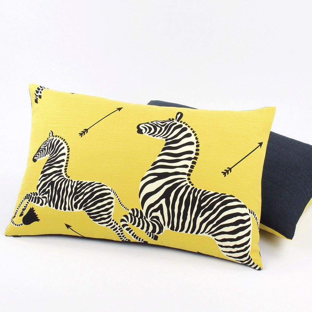 Scalamandre Yellow Zebra Pillow Cover, Lumbar Throw Pillow, Toss ...