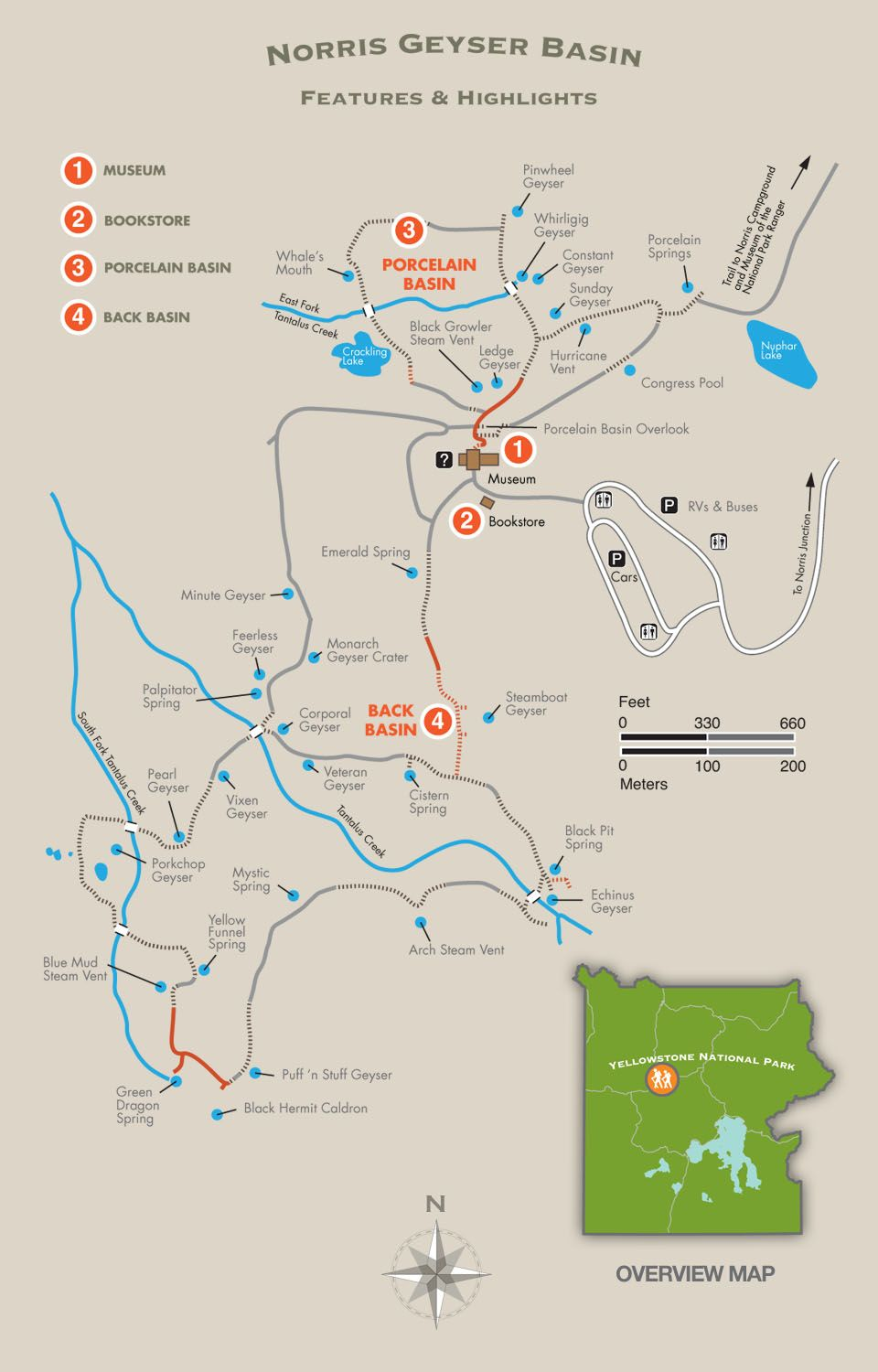 Map Of America Yellowstone National Park.Norris Geyser Basin Trail Map Yellowstone National Park From Sea