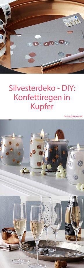 Konfettiregen Silvesterdeko in Kupfer selber machen Living rooms - silvester deko selber machen