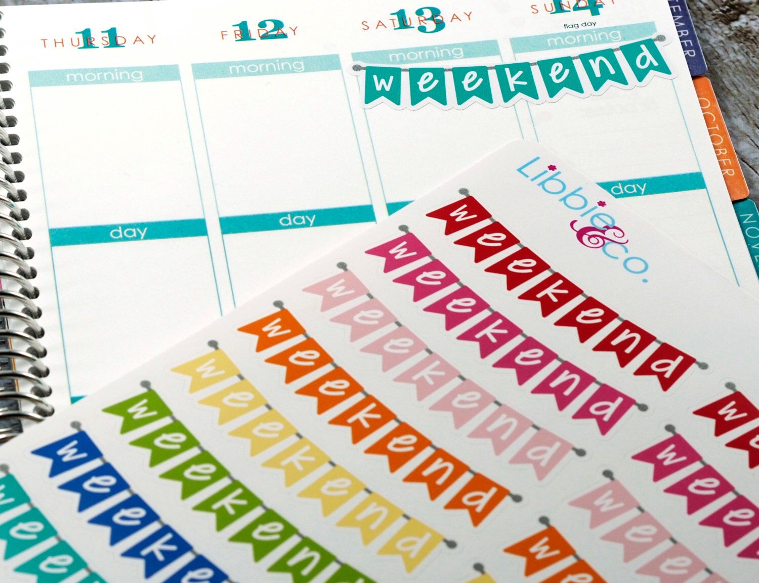 Rainbow Weekend Banner Stickers! Weekend Stickers Set of 22 Perfect for the Erin Condren Planner!!! HTC21 by Libbieandco on Etsy https://www.etsy.com/listing/223692056/rainbow-weekend-banner-stickers-weekend