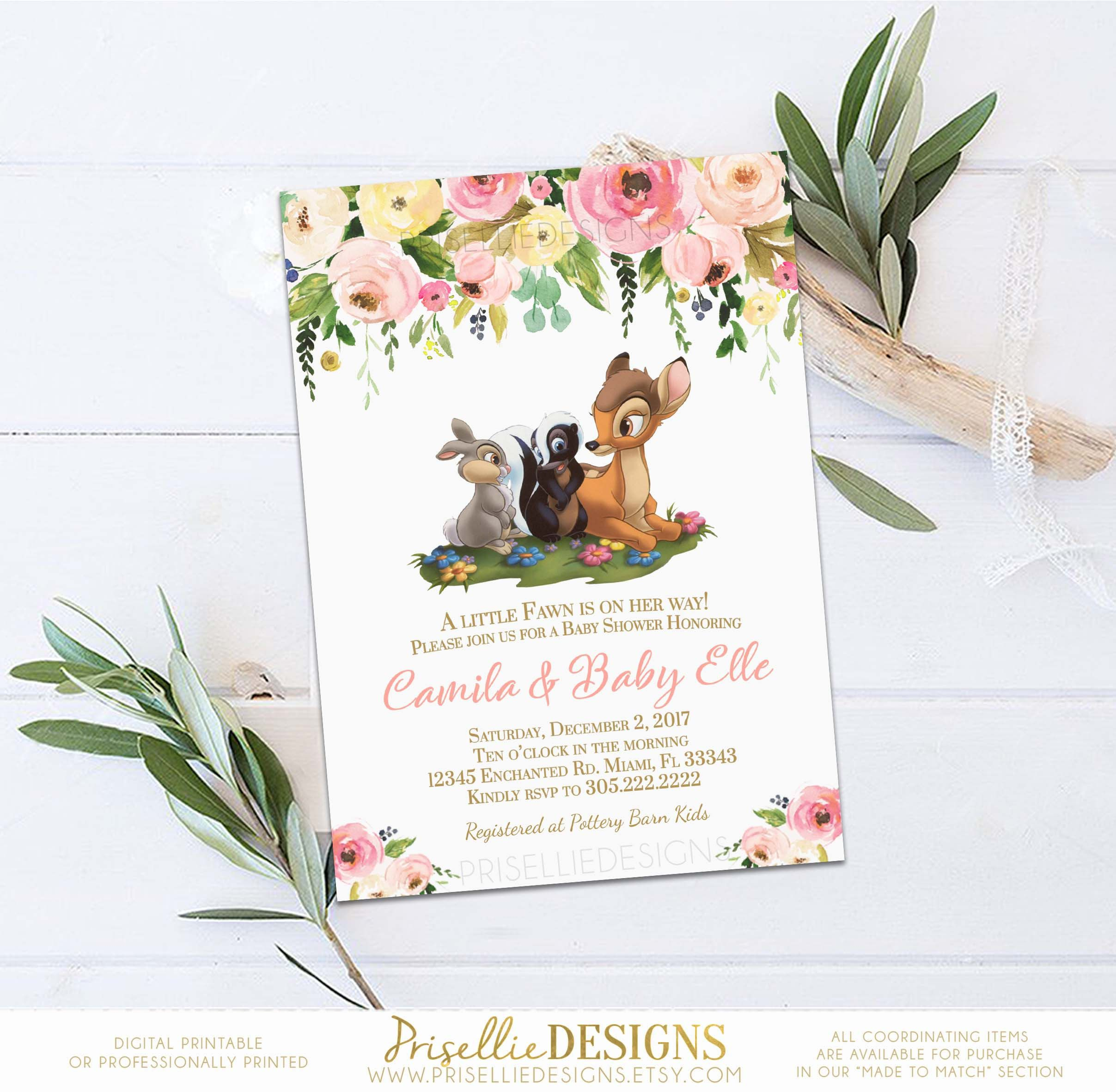 Bambi Baby Shower Invitation, Bambi Baby Shower Invitation Girl ...