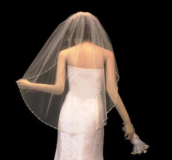 Diamond White Pearl And Crystal Beaded Elbow Wedding Veil Affordable Elegance Bridal
