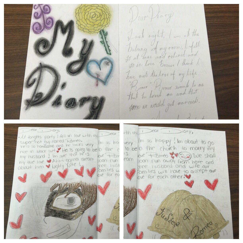 Juliet scrapbook ideas - Romeo And Juliet Character Diaries
