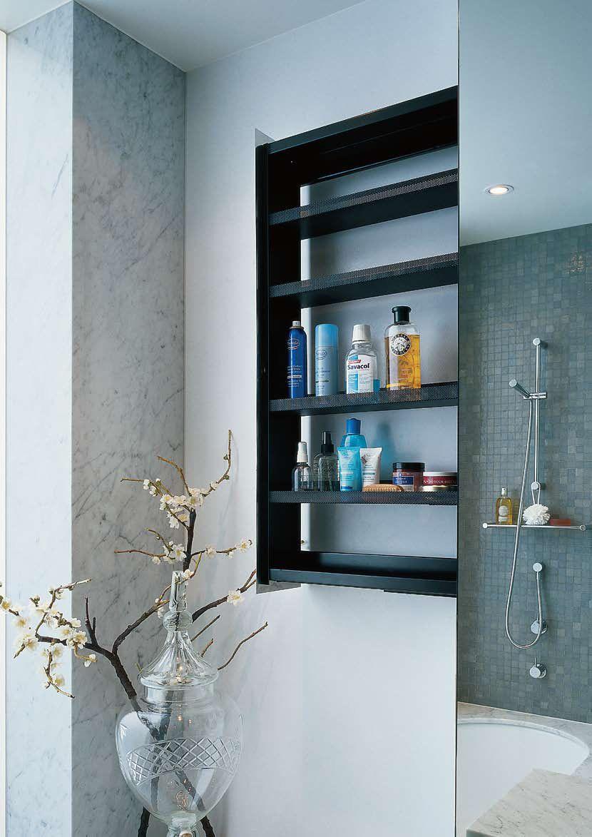 Bathroom Wall Shelves Sliding Storage Unit Hidden In A Crab By Omvivo