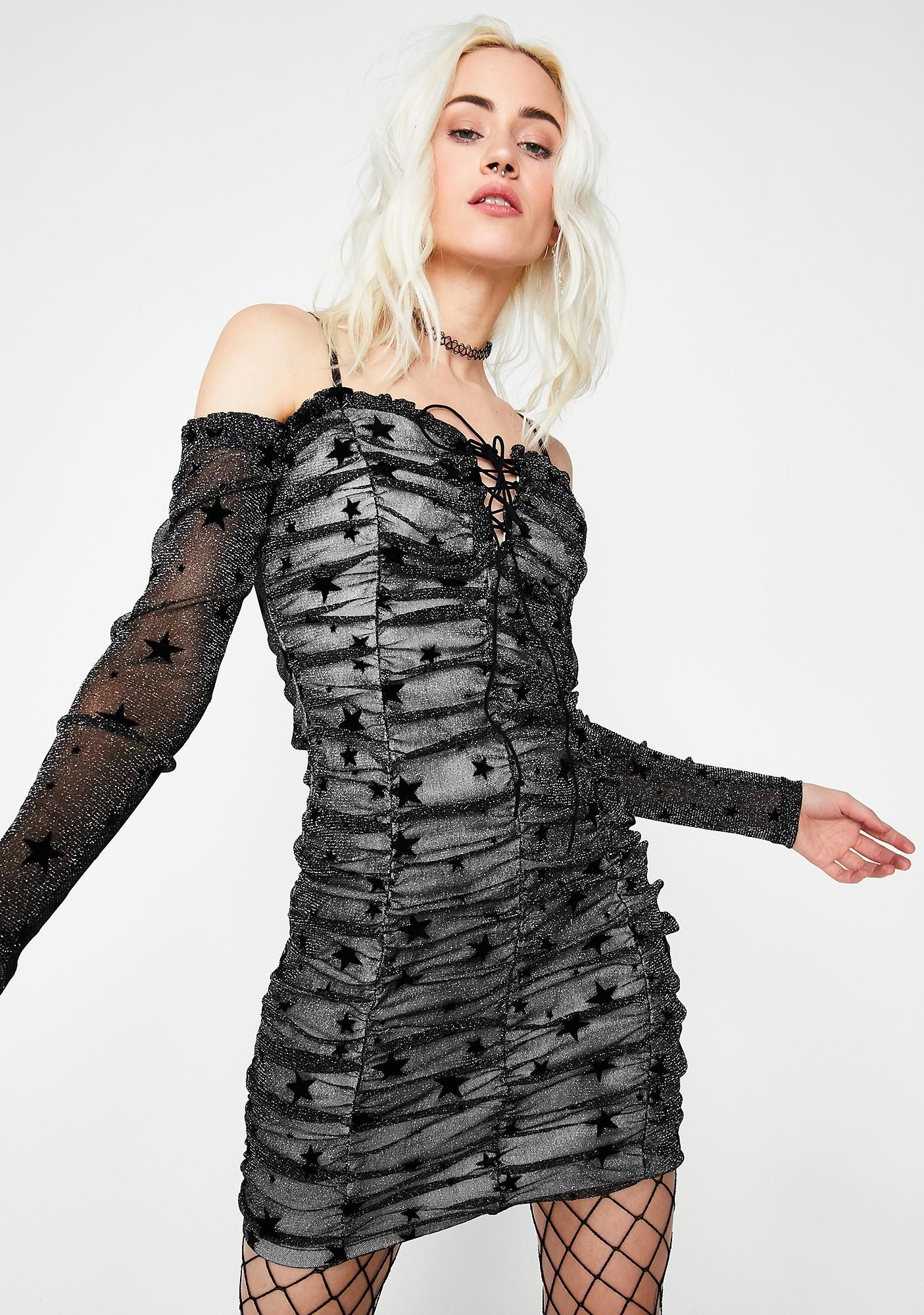 08377f1b12 Cosmic Storm Ruched Dress cuz you re rainin  stars on  em. This ruched off  the shoulder mini dress has long sheer sleeves and a lace-up front detail  and ...
