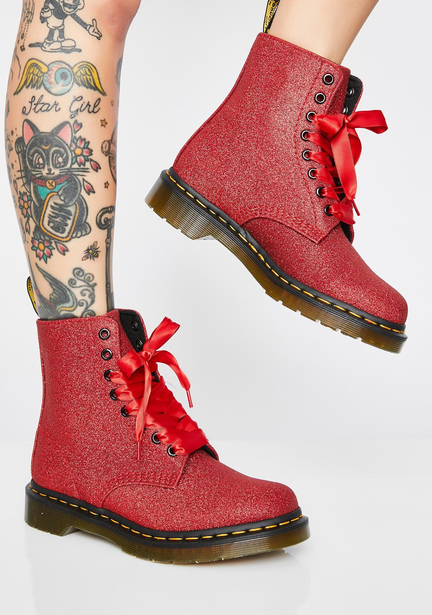 1460 Pascal Red Glitter Boots | Boots