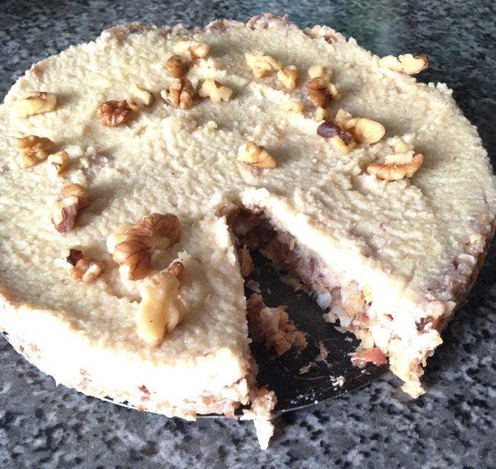 Raw apple walnut cake