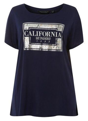 8f9a51cbb6f08f Womens   Dp Curve Navy  California  Motif T-Shirt- Blue in 2019 ...